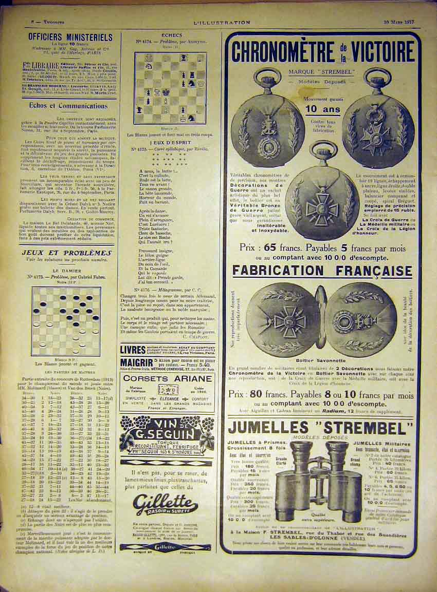 Print Advert Watch Medal French Chess Binoculars France 1917 06Lil0 Old Original