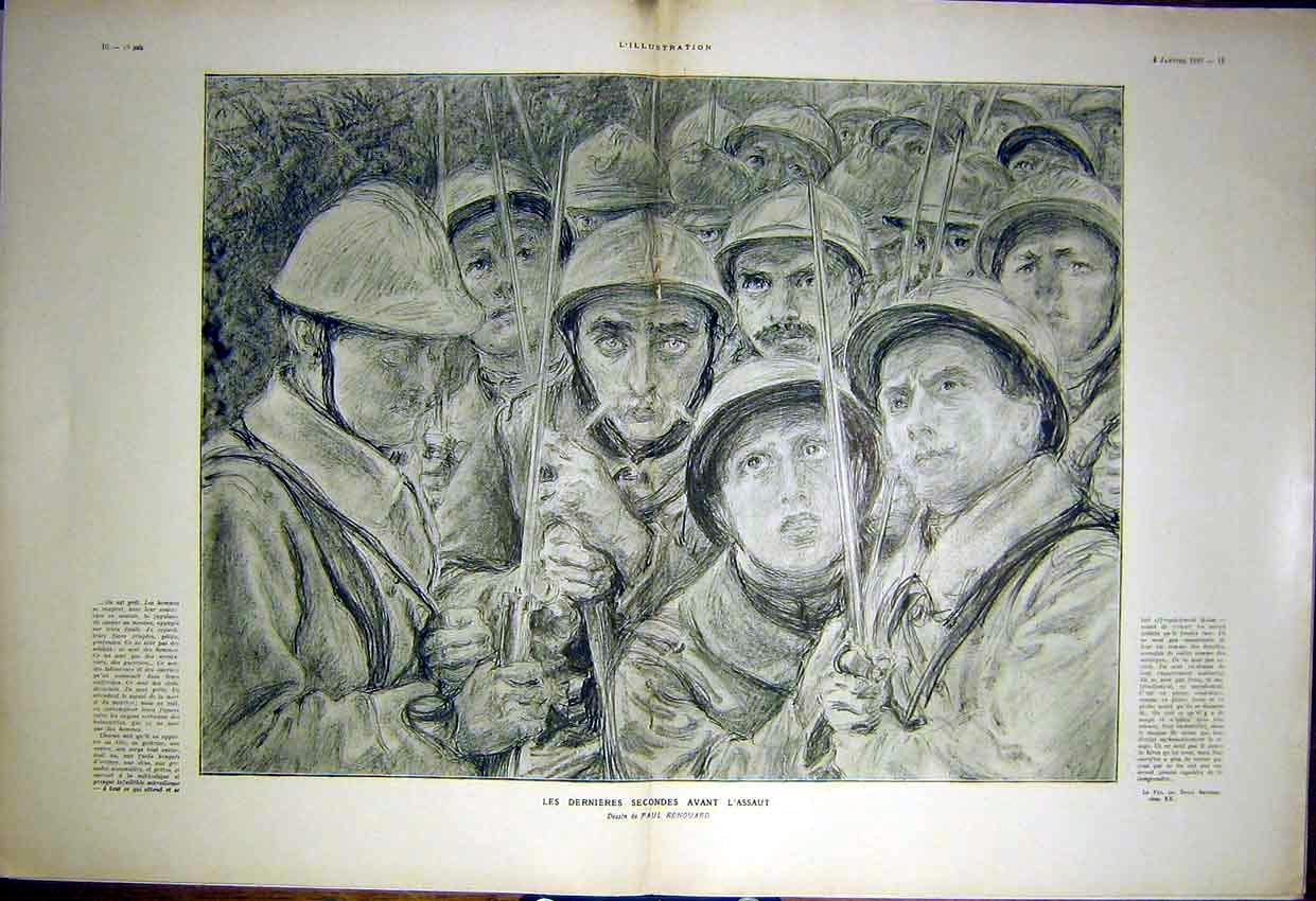 Print Sketch Renouard Troops Faces Men French 1917 09Tlil0 Old Original