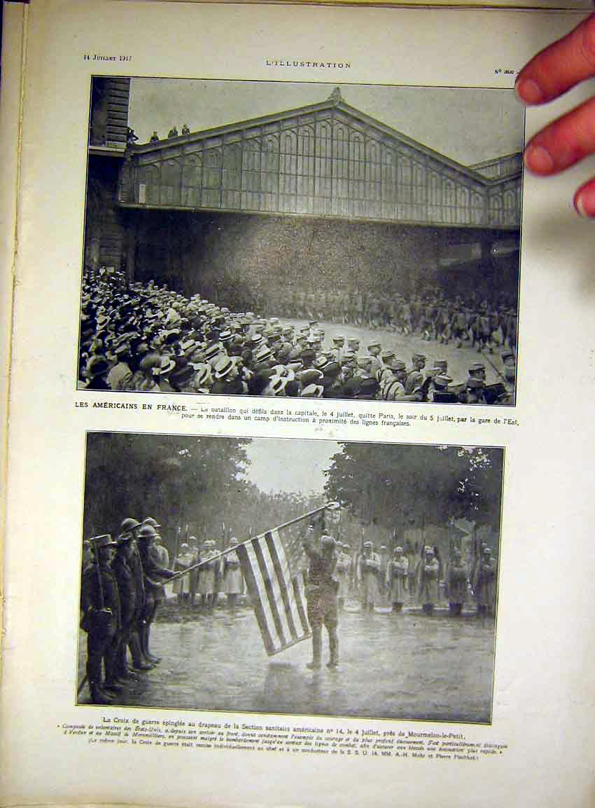 Print American Troops France War Flag French 1917 49Lil0 Old Original
