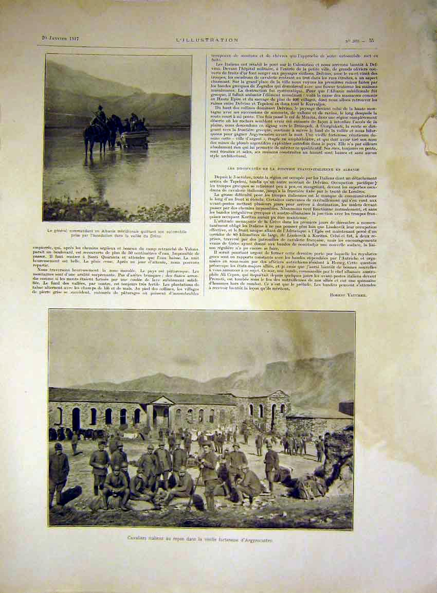 Print Albania Drino Cavaliers Italian Fort French 1917 55Lil0 Old Original