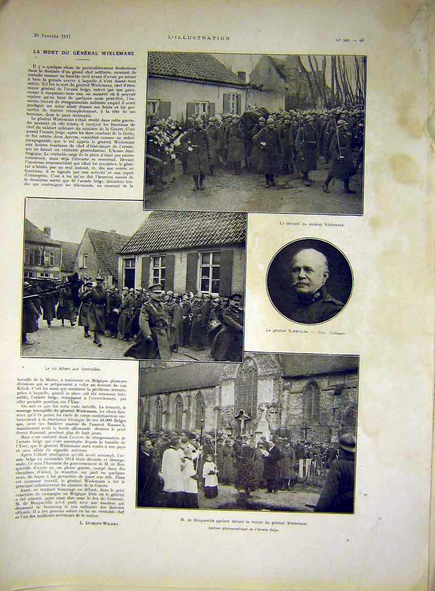 Print Funeral Wielemams General Soldier French 1917 63Lil0 Old Original