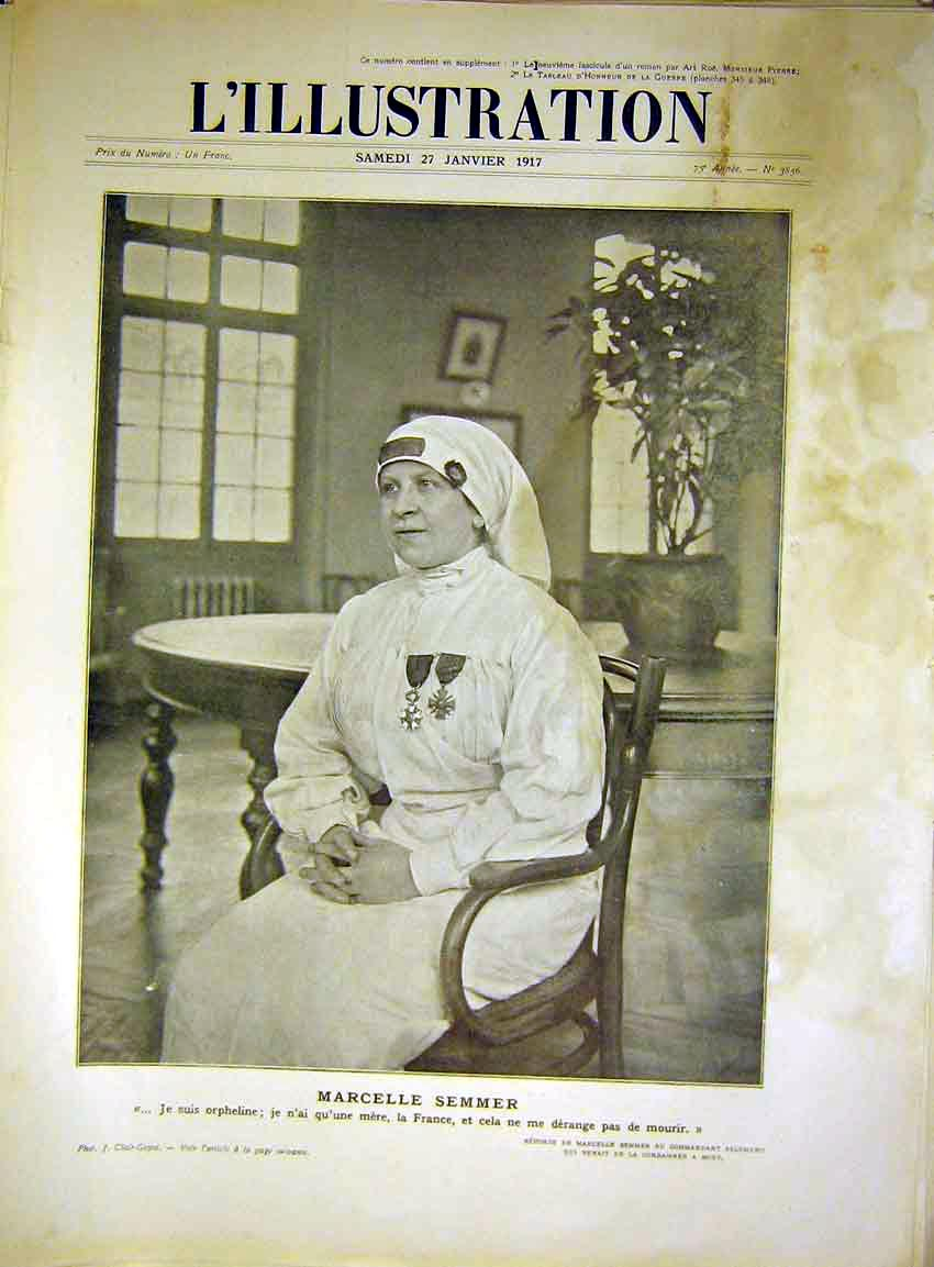 Print Marcelle Semmer Nurse Portrait France French 1917 66Lil0 Old Original