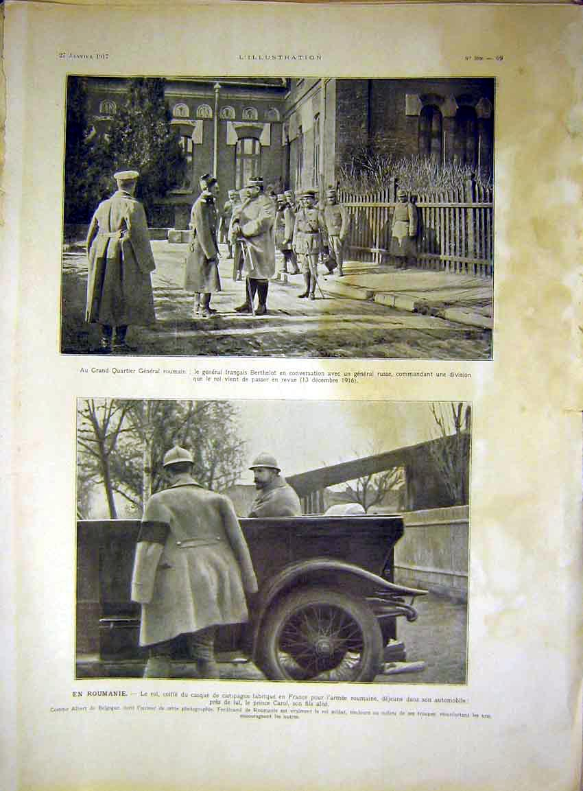 Print Rumania Soldier Prince Carol Troops Car Russian 1917 69Lil0 Old Original