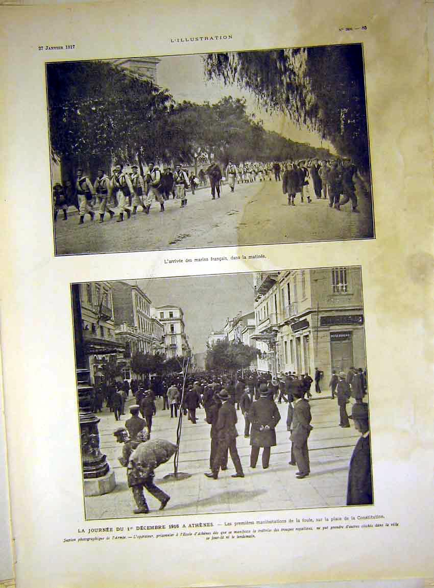 Print Athens Greece Army Troops Streets Marines French 1917 85Lil0 Old Original
