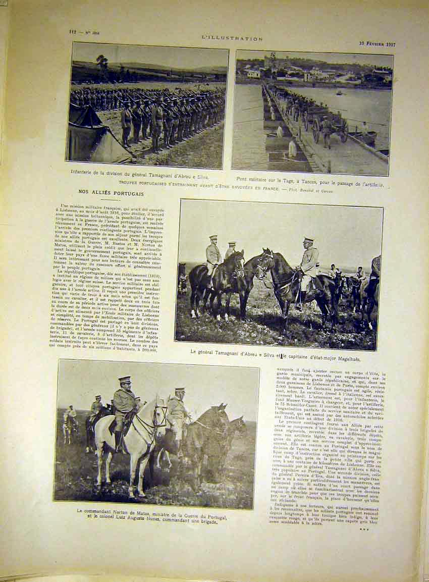 Print Portugese Troops France War Military French 1917 12Lil0 Old Original