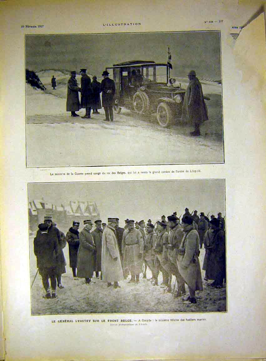 Print War Car Soldier Leapbelgian Coxyde French 1917 17Lil0 Old Original
