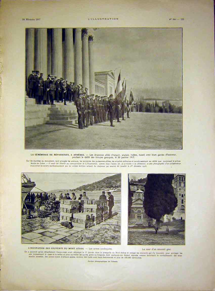 Print Athens Greece Soldiers Athos Military War French 1917 55Lil0 Old Original
