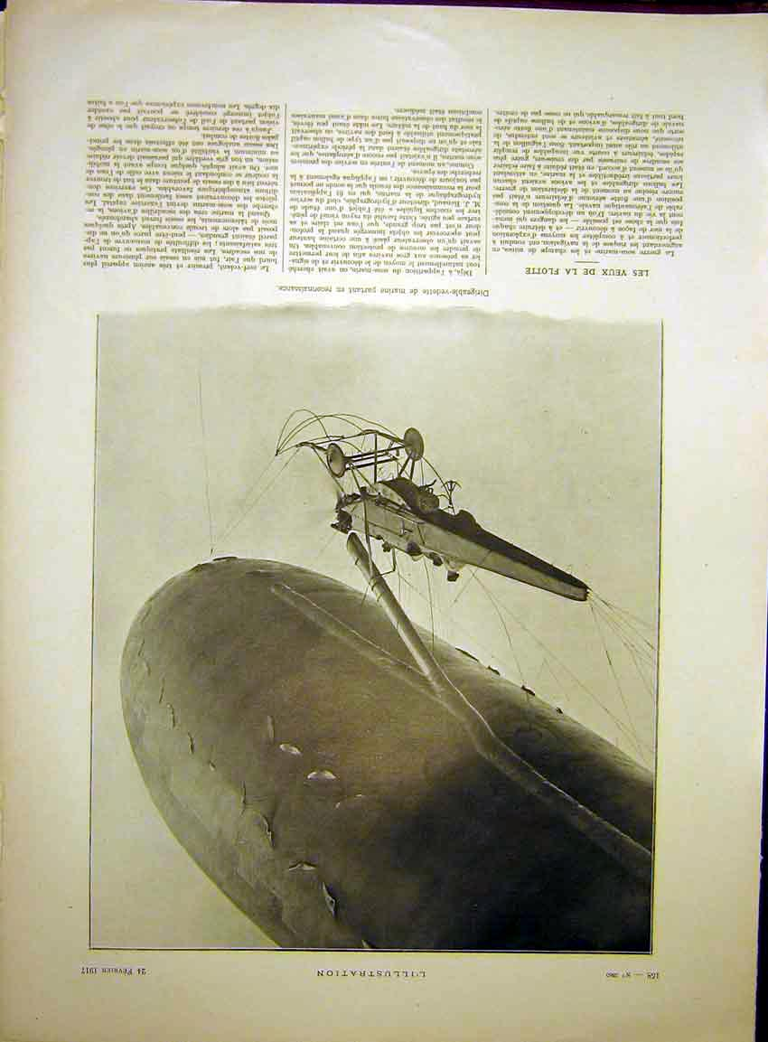 Print Balloon Flying Dirigeable-Vedette French 1917 58Lil0 Old Original