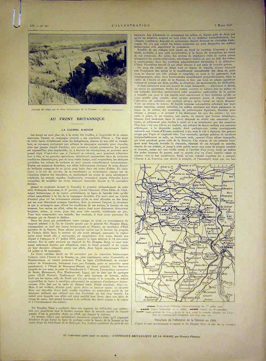 Print Somme Soldier Map Troops British French 1917 78Alil0 Old Original