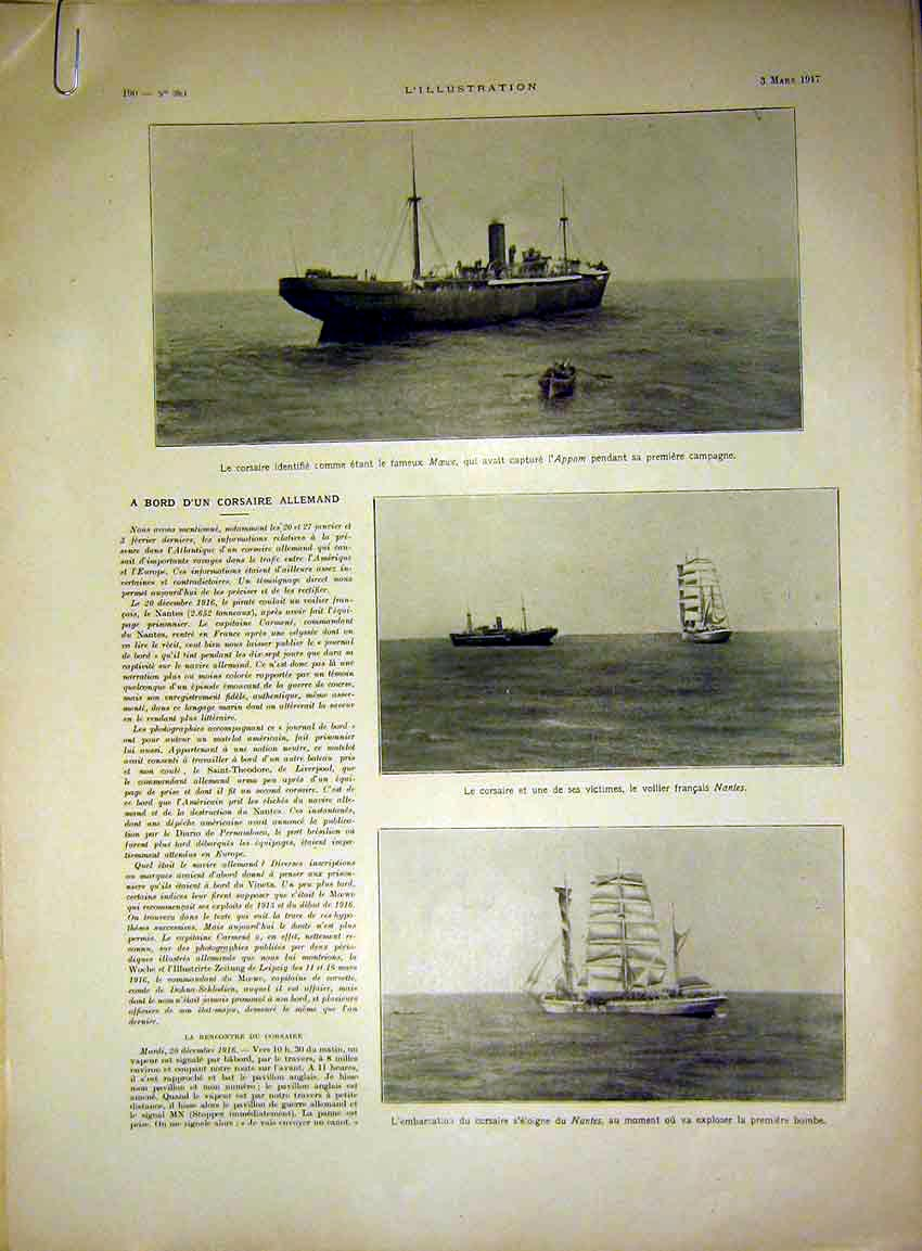 Print Boat Ship War Soldier Troops Wreck Nantes French 1917 90Alil0 Old Original