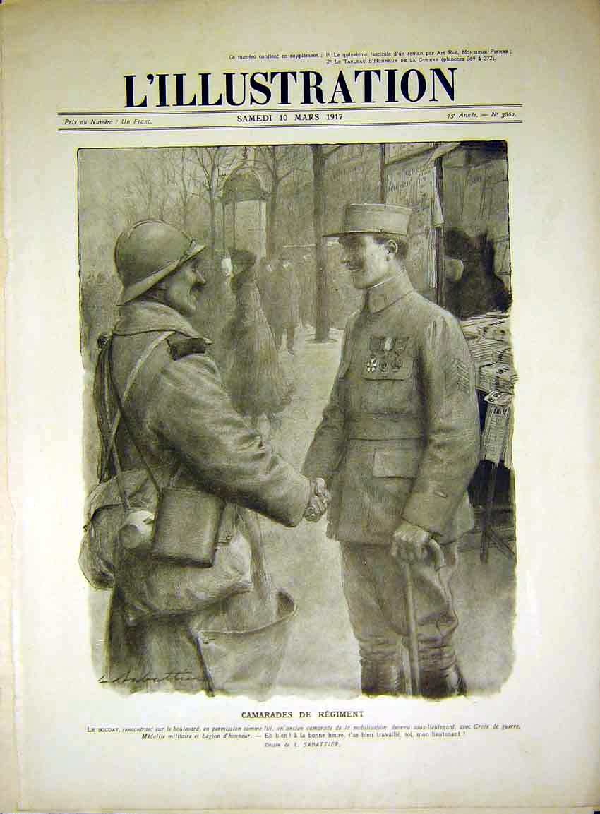 Print Commrades Soldier War Sabattier Lamsdorf French 98Rlil0 Old Original