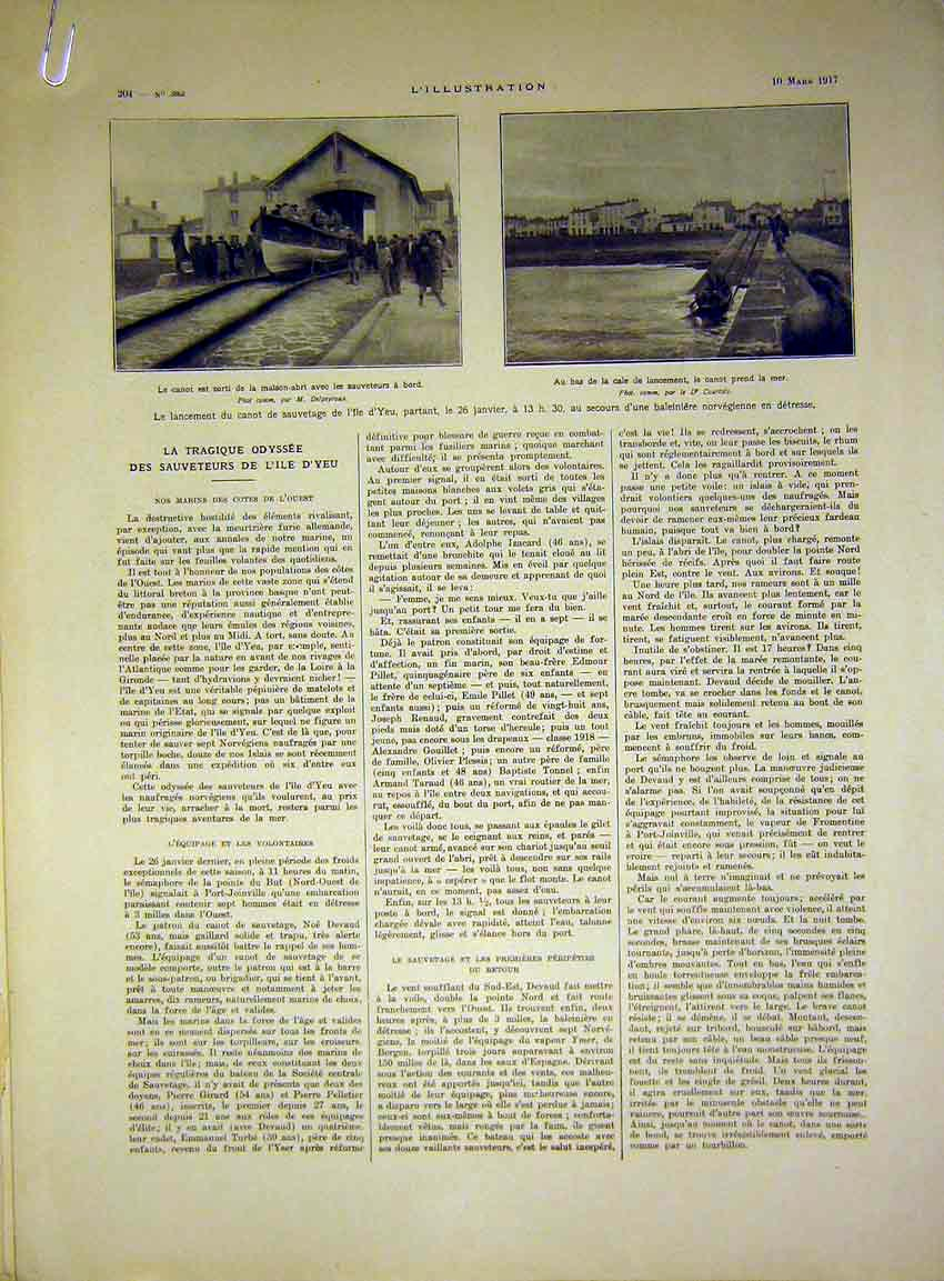 Print Soldier Military Troops Grave Life Boat French 1917 04Alil0 Old Original