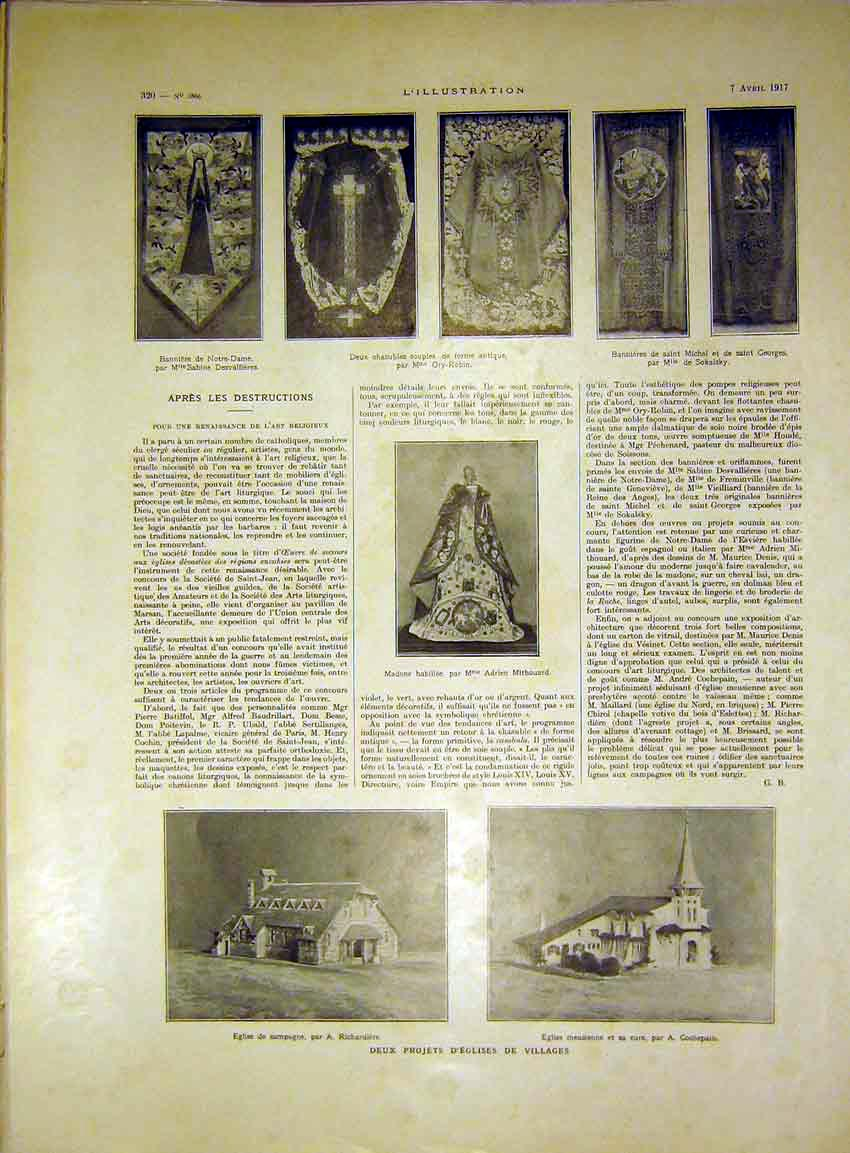 Print Notre Dame Mithouard Religious Building French 1917 20Lil0 Old Original