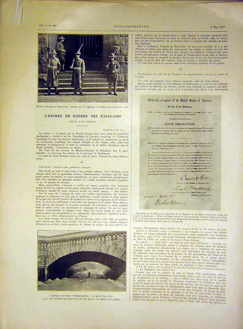 Print War New York President Building French 1917 14Alil0 Old Original