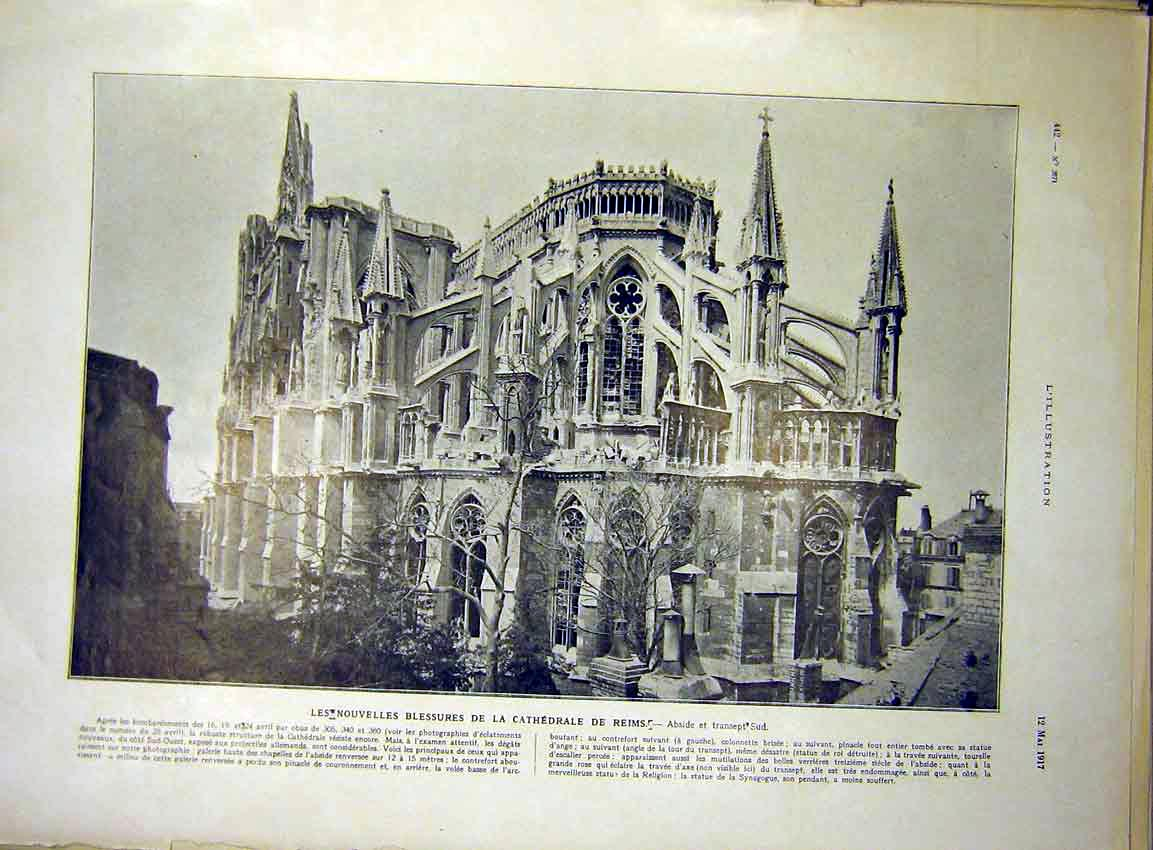 Print Cathedral Reims France Building French 1917 42Lil0 Old Original