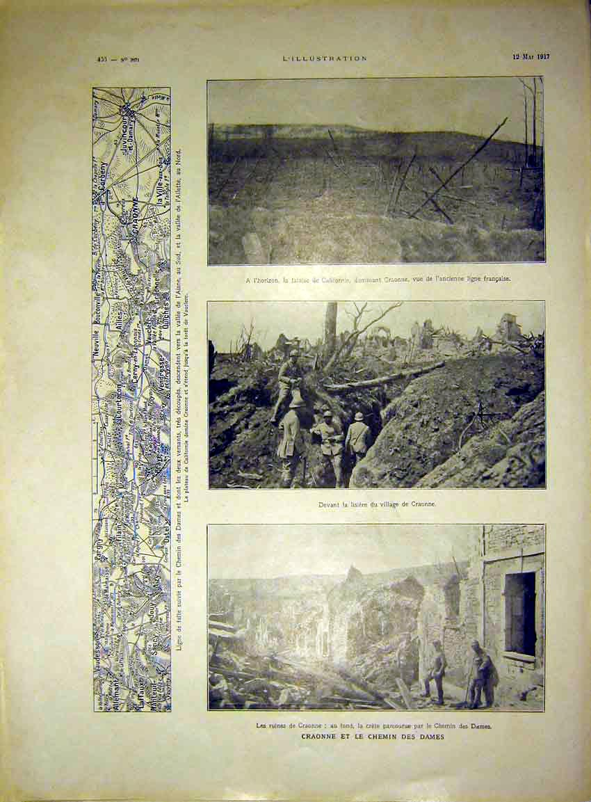 Print Craonne Soldier Wart Trench Troops French 1917 56Lil0 Old Original