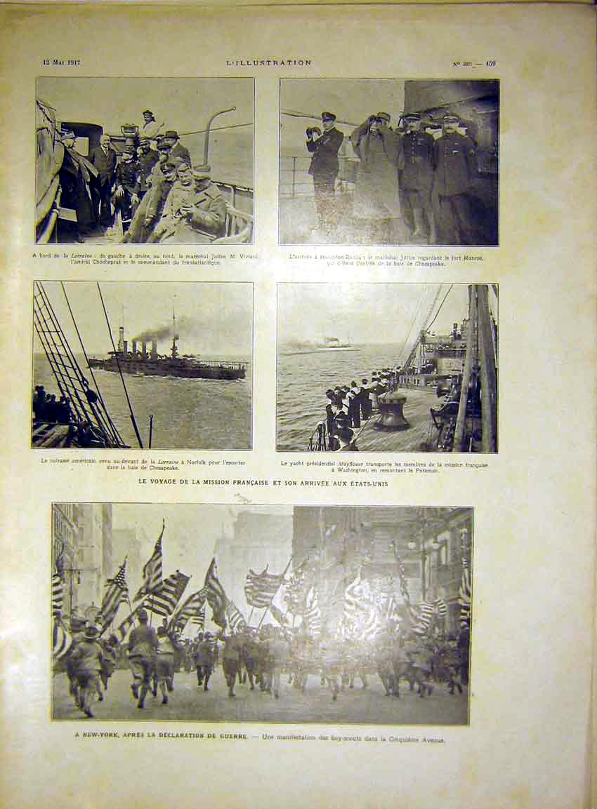 Print Ship Lorraine Joffre New York War French 1917 59Lil0 Old Original