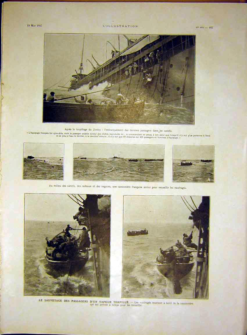 Print Sontay Ship Boat Italian Military Japanese French 67Rlil0 Old Original