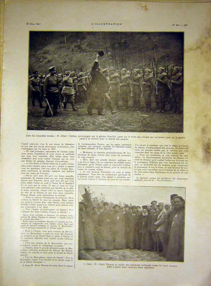 Print Thomas Korniltroops Soldier Military French 1917 87Lil0 Old Original