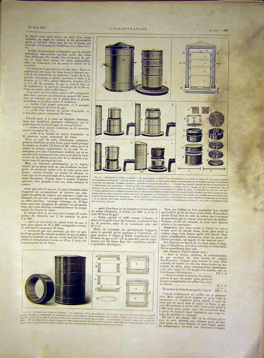 Print Cloche Machine Pots French 1917 Hydraulic 05Lil0 Old Original