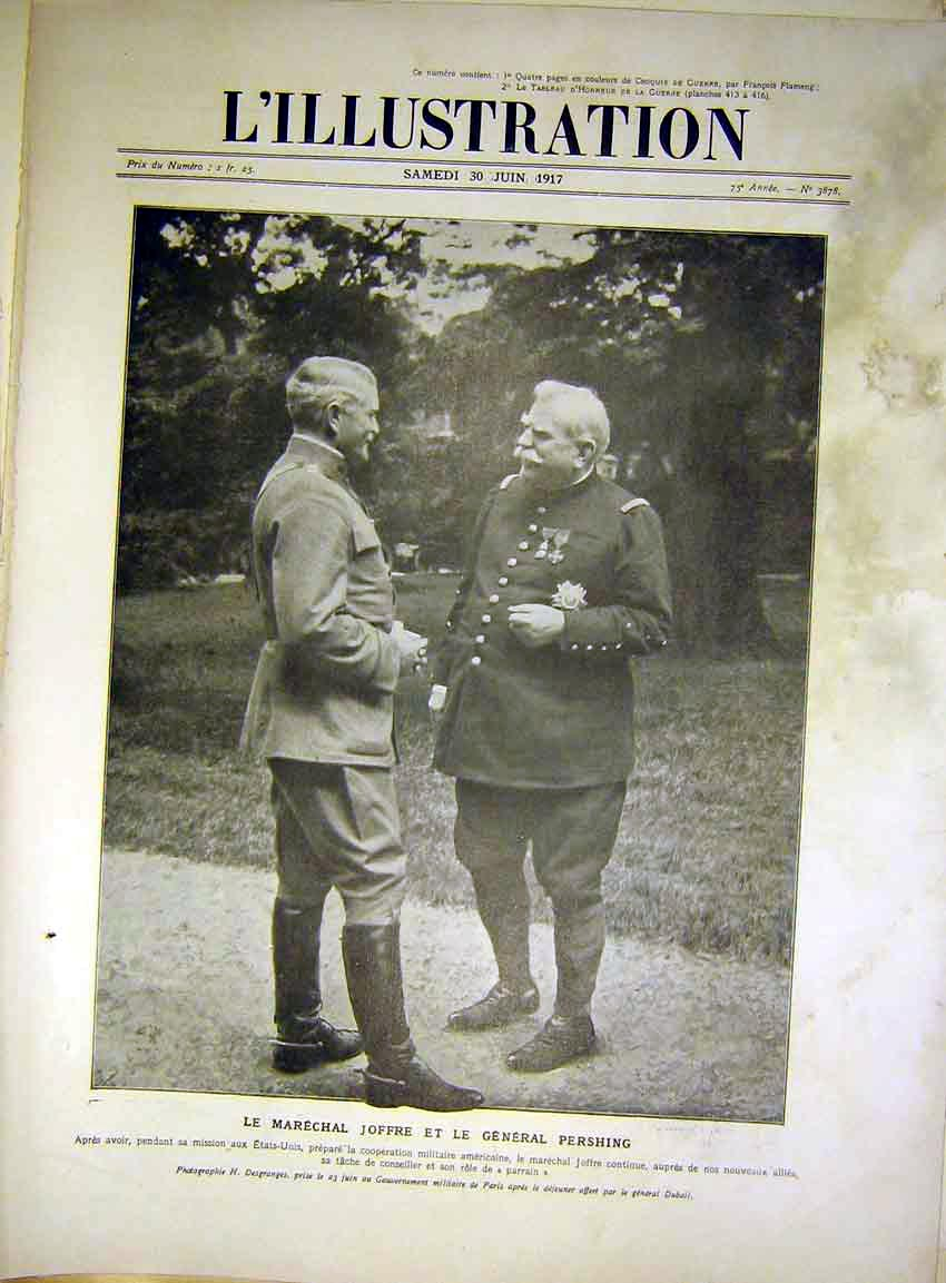 Print Joffre Officer Pershing Military French 1917 08Lil0 Old Original
