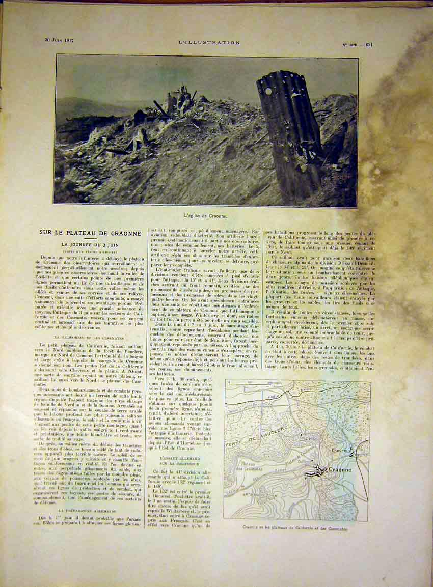 Print Craonne Ruins War Map France French 1917 21Lil0 Old Original
