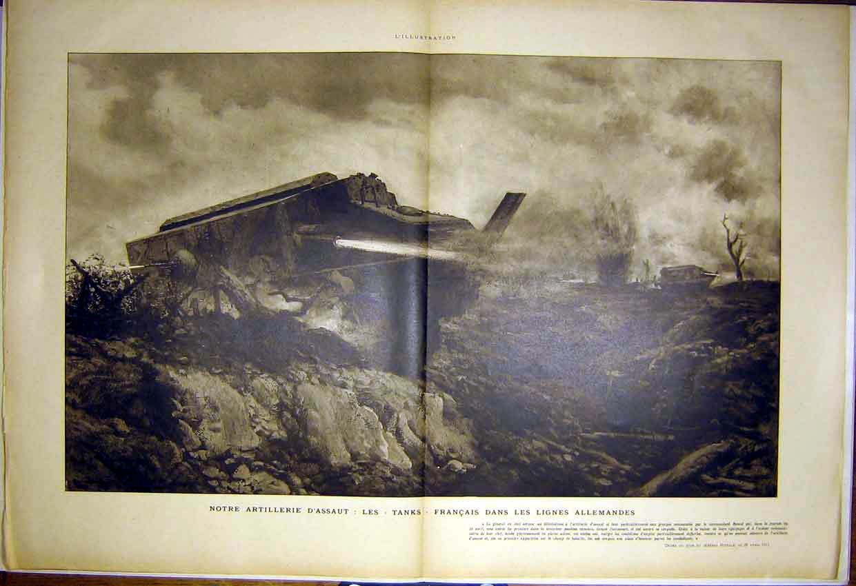 Print Artillery Tanks War German Nivelle French 1917 03Tlil0 Old Original