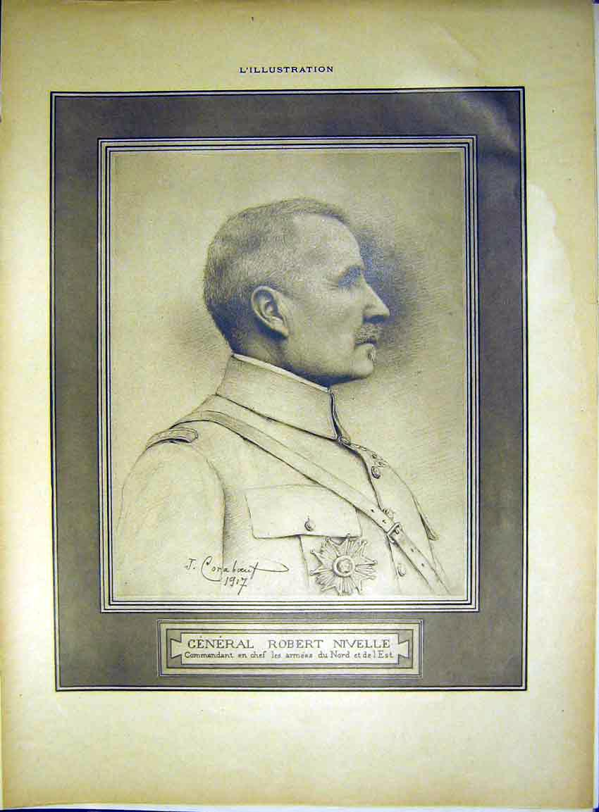 Print Portrait General Robert Nivelle Military French 1917 13Lil0 Old Original
