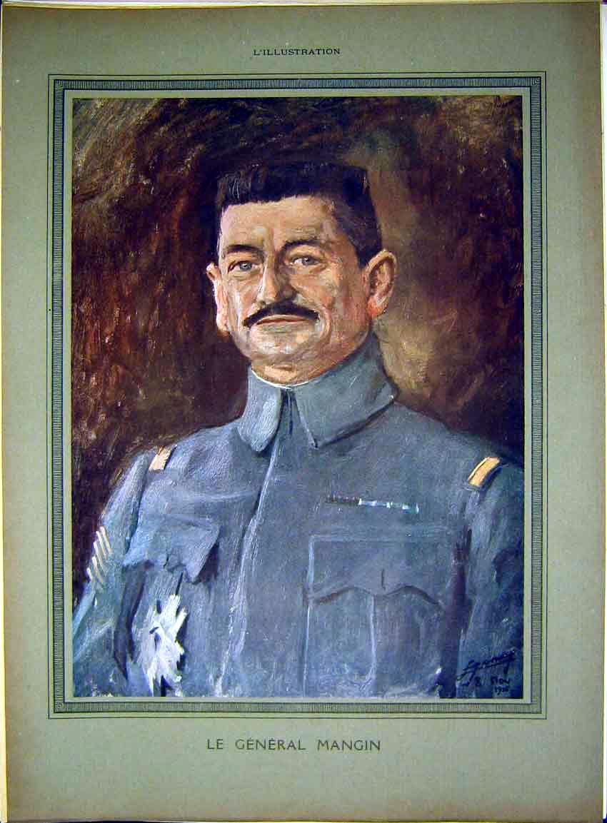 Print Portrait General Mangin Military French 1917 14Lil0 Old Original