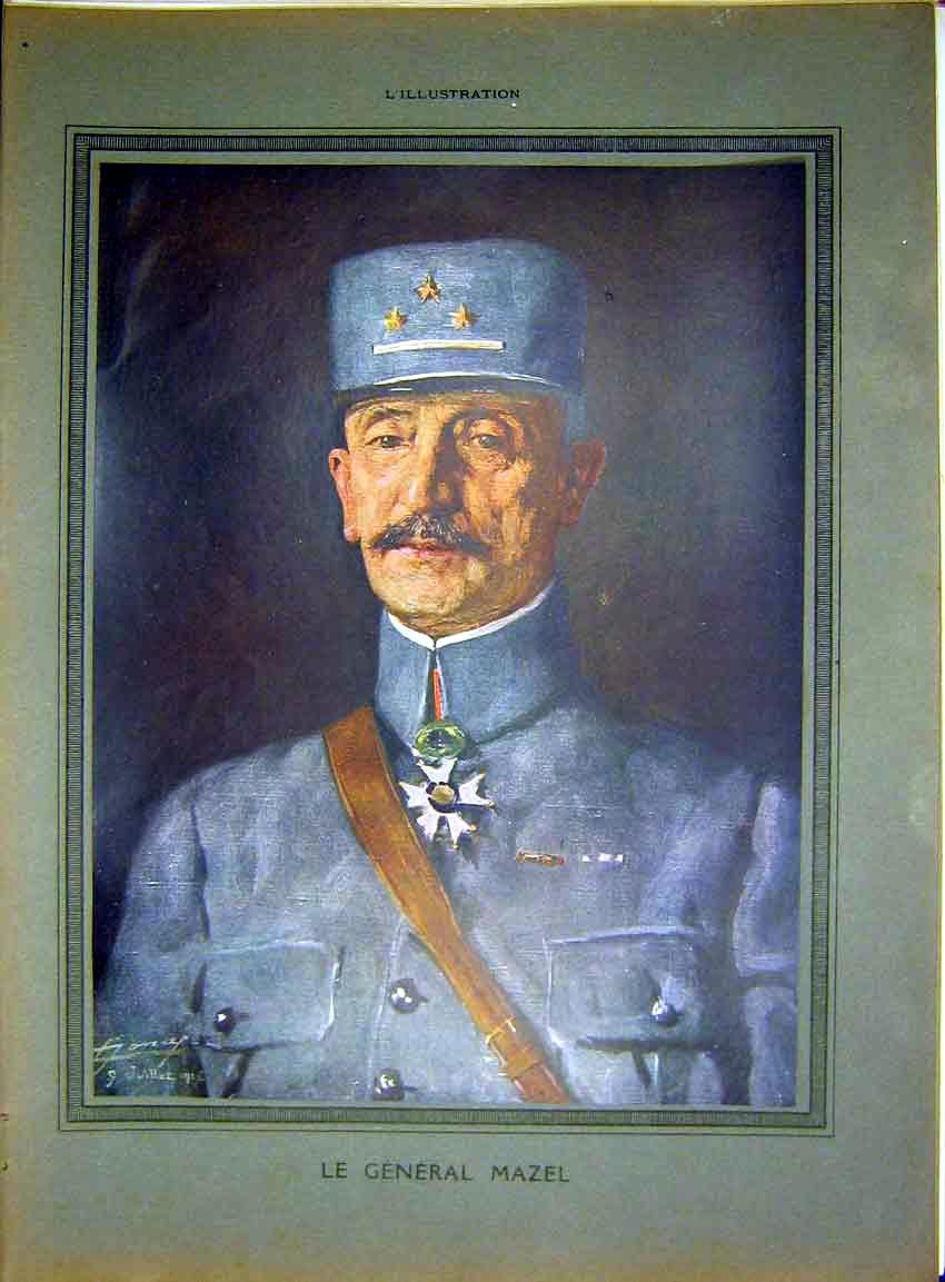 Print Portrait General Mazel Military French 1917 15Lil0 Old Original
