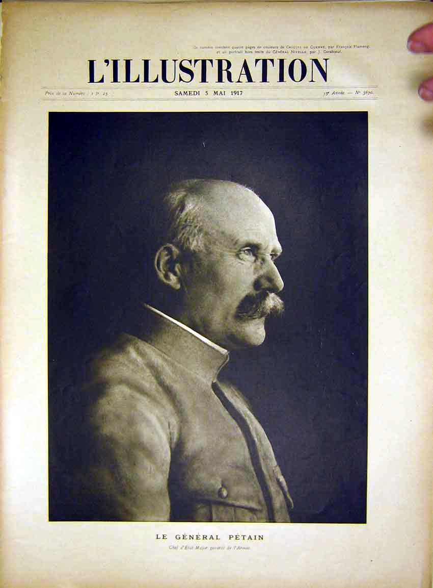 Print Portrait General Petain Military Officer French 1917 17Lil0 Old Original