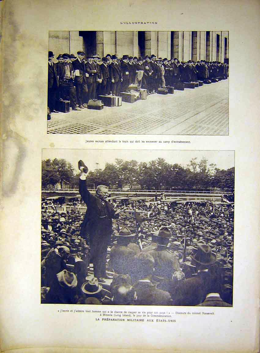 Print Recruits Military Roosevelt Paris Crowd French 46Rlil0 Old Original