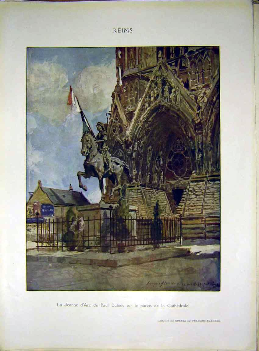 Print Reims Dubois Cathedral St. Leonard Drawings 1917 52Rlil0 Old Original