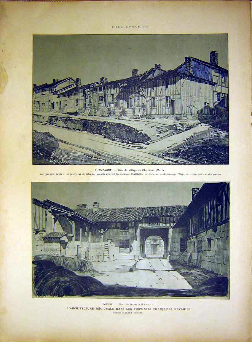 Print Champaigne Rancourt Buildings Alsace French 1917 59Rlil0 Old Original