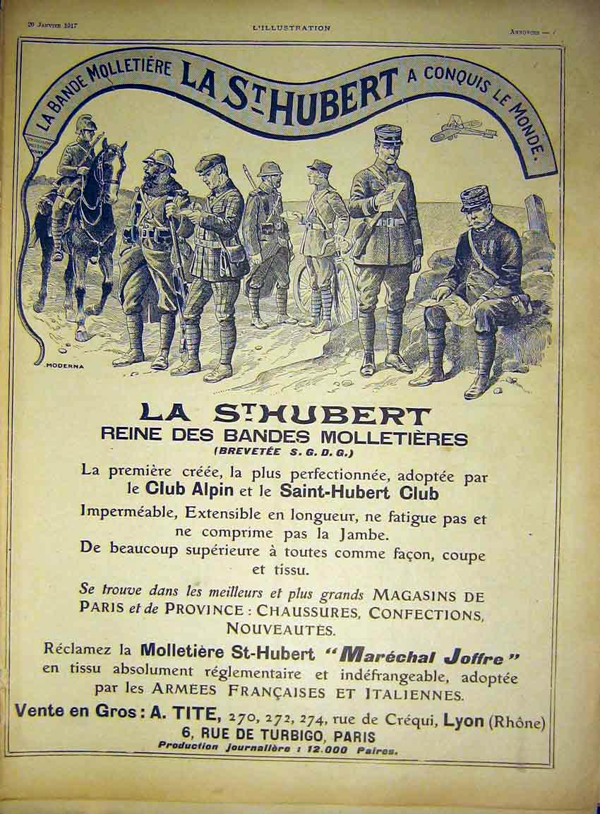 Print Advert St Hubert Military Uniforms French 1917 68Lil0 Old Original