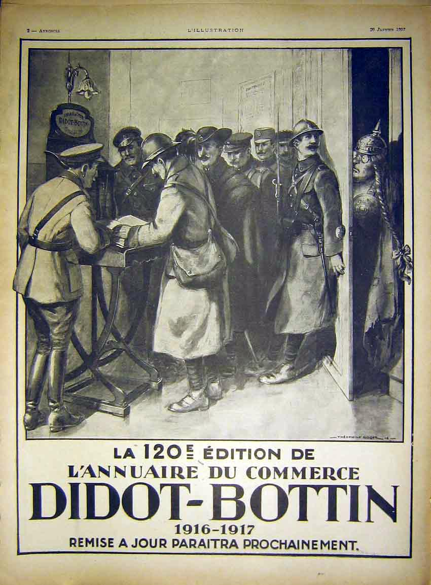 Print Advert Didot-Bottin Military Soldiers French 1917 69Lil0 Old Original