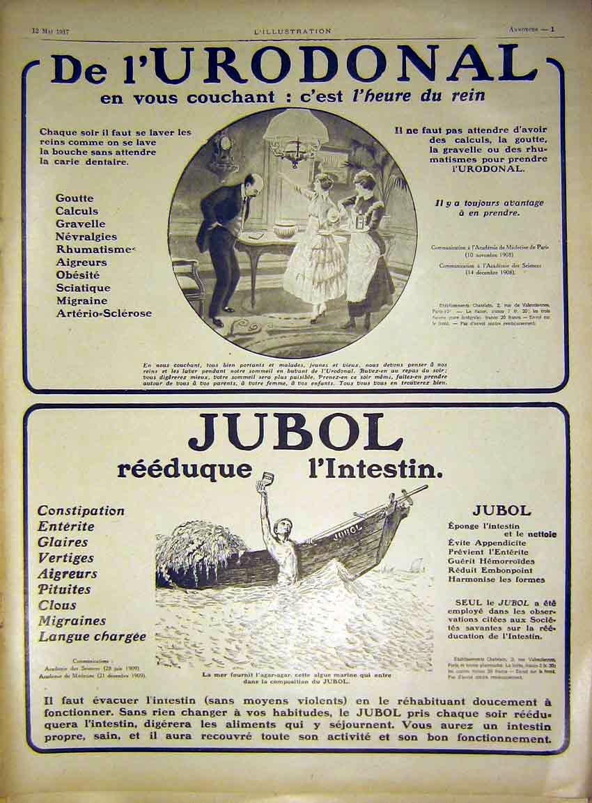 Print Advert Jubol L'Urodonal French 1917 72Lil0 Old Original