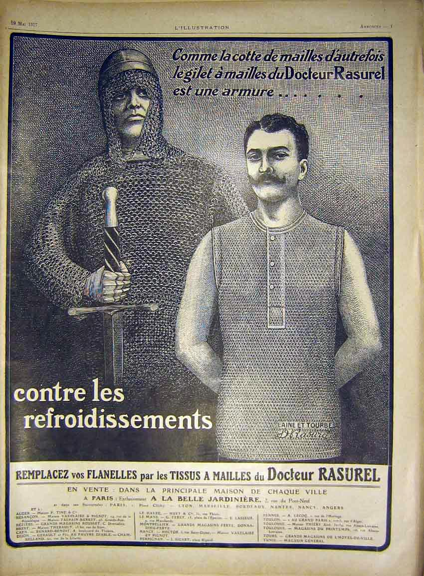 Print Advert Rasurel Vest Chain-Mail French 1917 74Lil0 Old Original