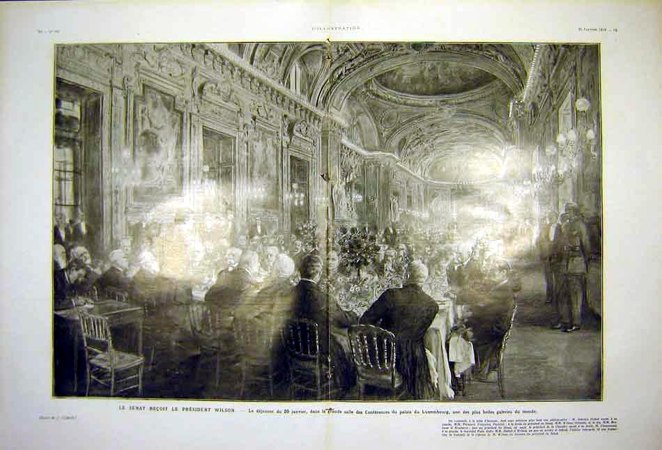 Print President Wilson Luxembourg Banquet French 1919 93Tlil0 Old Original