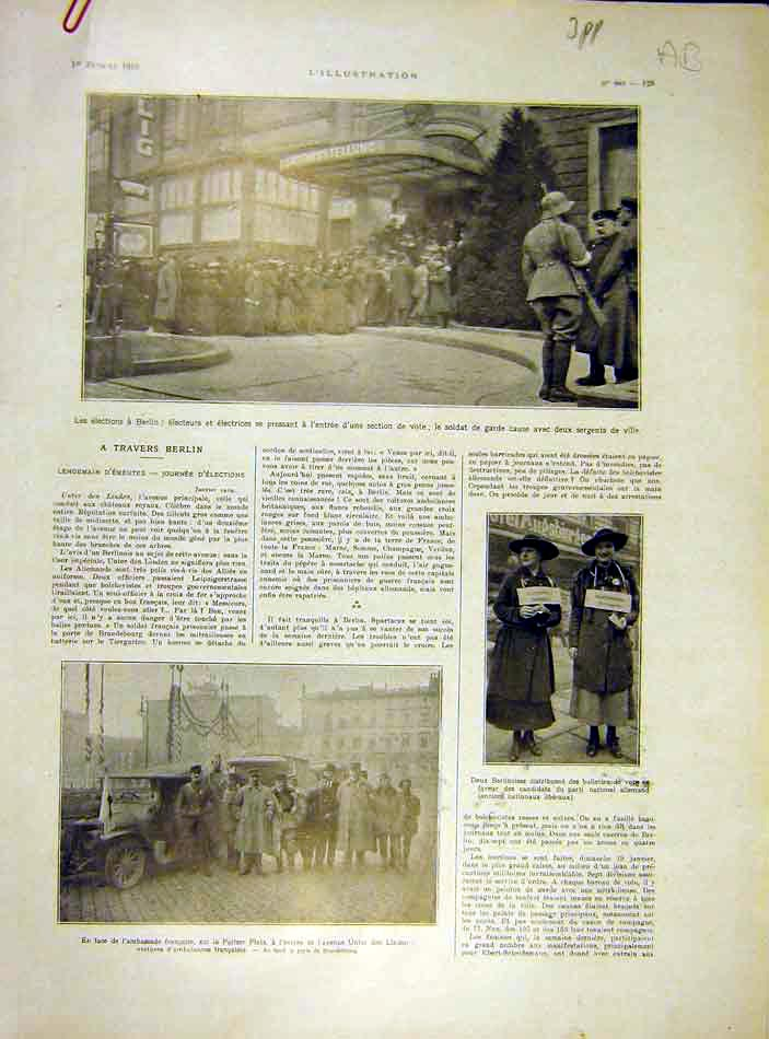 Print Berlin Mosse Ambassador Spartaciens French 1919 29Alil0 Old Original