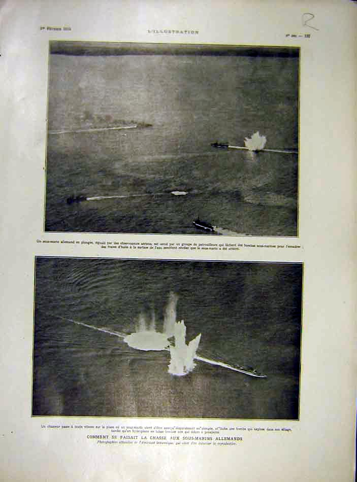 Print Submarine German War Ww1 Bombs Dirigible 1919 37Rlil0 Old Original