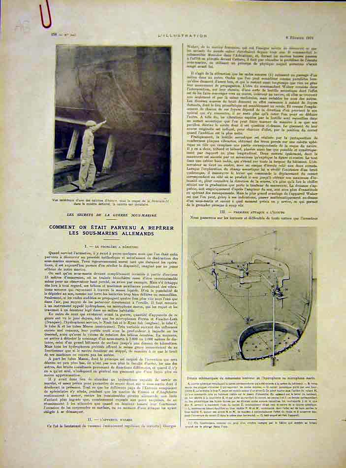 Print Navy Submarine Boat Cabin French Ww1 War 1919 56Alil0 Old Original