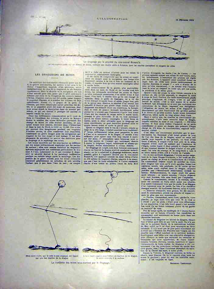 Print Mines Ships War Drag-Nets Ronarc Ww1 Navy 1919 80Lil0 Old Original