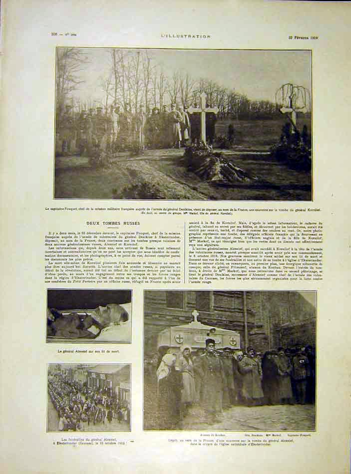 Print Fouquet Tombs Russian Alexeief Funeral 1919 08Lil0 Old Original