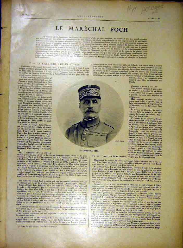 Print Marshall Foch Portrait Maps Paris Somme Ww1 1919 81Alil0 Old Original