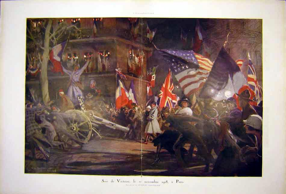 Print Victory November Paris Hoffbauer Clebrations Ww1 1919 95Tlil0 Old Original