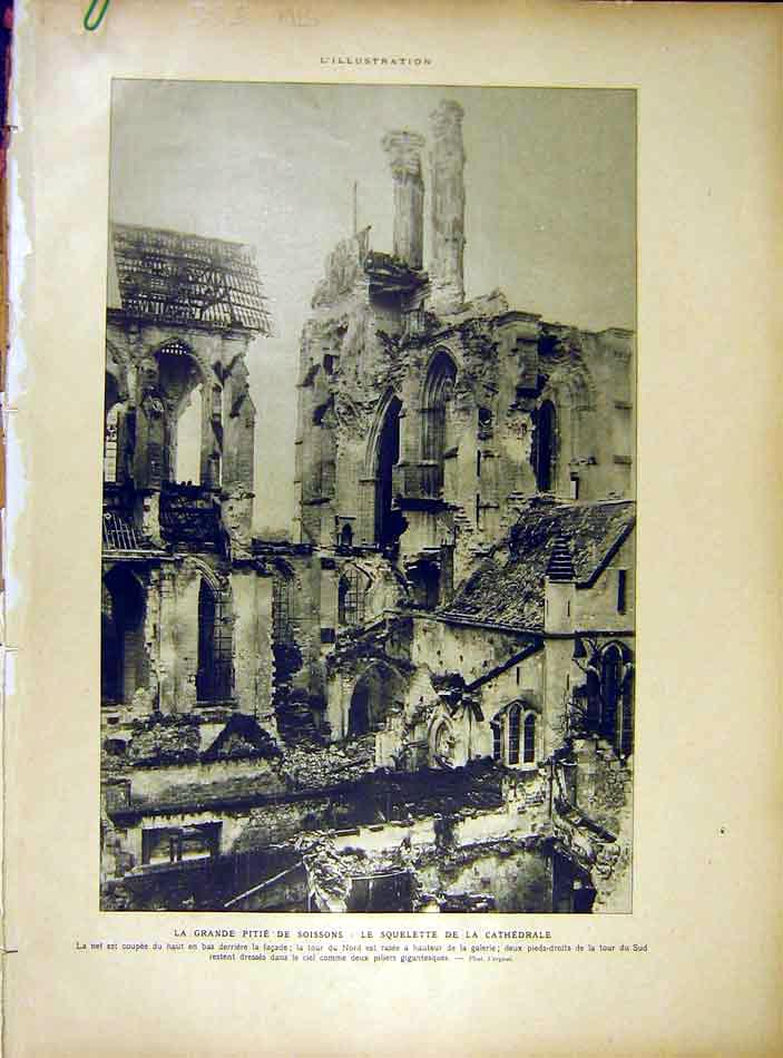 Print Ruins Cathedral Soissons Cloitre French 1919 53Alil0 Old Original
