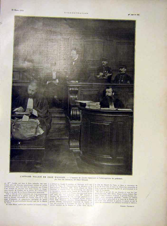 Print Assises President Villian Jaures French 1919 61Lil0 Old Original