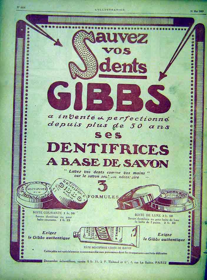 Print Gibbs Soap Toothpaste Advert French 1919 97Lil0 Old Original