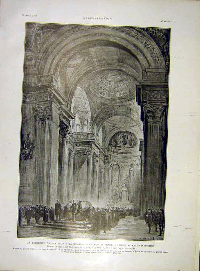 Print Ceremony Pantheon French Honour Malleterre 1919 17Lil0 Old Original